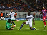 Chelsea's Ramires scores the opening goal against Steaua Bucuresti during their Champions League group match on October 1, 2013