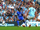 Everton's on-loan forward Romelu Lukaku scores against Manchester City on October 5, 2013