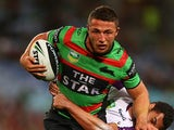 Rabbitohs' Sam Burgess in action against the Storm on September 13, 2013