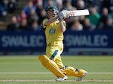 George Bailey of Australia hits out during the 4th Natwest Series One Day International between England and Australia at the SWALEC Stadium on September 14, 2013