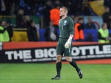 Robert Green of England walks off the pitch after being sent off during the FIFA 2010 World Cup Group 6 Qualifying match between Ukraine and England at the Dnipro Arena on October 10, 2009