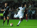 Swansea player Wilfried Bony gets in a shot at goal during the UEFA Europa League match between Swansea City and FC St Gallen at Liberty Stadium on October 3, 2013