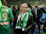 Saint-Etienne's co-president Bernard Caiazzo is pictured after winning the French League Cup final football match between Saint-Etienne and Rennes at the Stade de France on April 20, 2013