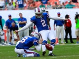 Dan Carpenter of the Buffalo Bills kicks a field goal in the last minute against the Miami Dolphins on October 20, 2013