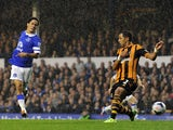Steven Pienaar of Everton scores his side's second goal during the Barclays Premier League match between Everton and Hull City at Goodison Park on October 19, 2013