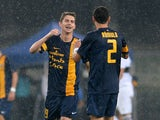 Jorginho of Verona FC celebrates after scoring his teams fourth goal during the Serie A match between Hellas Verona FC and Parma FC at Stadio Marc'Antonio Bentegodi on October 20, 2013