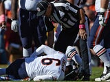 Quarterback Jay Cutler of the Chicago Bears is injured on a play against the Washington Redskins in the second quarter at FedExField on October 20, 2013