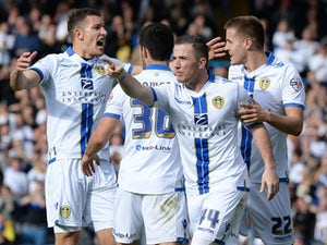 Ross McCormack of Leeds United celebrates scoring during their Sky Bet Championship match between Leeds United and Birmingham City at Elland Road Stadium on October 20, 2013