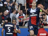 Paris Saint-Germain's Swedish forward Zlatan Ibrahimovic celebrates after scoring a goal during the French L1 football match Paris Saint Germain (PSG) against Bastia (SCB) on October 19, 2013