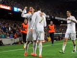 Cristiano Ronaldo celebrates scoring the winning goal during the El Clasico in April 21, 2012.