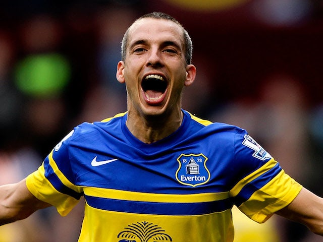 Leon Osman of Everton celebrates after scoring his team's second goal during the Barclays Premier League match between Aston Villa and Everton at Villa Park on October 26, 2013