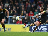 Andy Goode of Wasps kicks a long range penalty during the Aviva Premiership match between London Wasps and Leicester Tigers at Adams Park on October 27, 2013