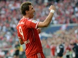 Bayern's Mario Mandzukic celebrates after scoring his team's opening goal against Hertha Berlin on October 26, 2013