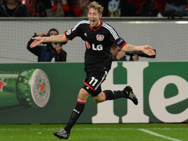 Leverkusen's striker Stefan Kiessling celebrates after scoring during the UEFA Champions League Group A football match against Shakhtar Donetsk on October 23, 2013