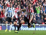 Sunderland's Italian striker Fabio Borini celebrates scoring their second goal during the English Premier League football match between Sunderland and Newcastle United at The Stadium of Light in Sunderland, northeast England on October 27, 2013
