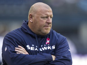 Offensive line coach Tom Cable of the Seattle Seahawks during the season opener against the Arizona Cardinals at the University of Phoenix Stadium on September 9, 2012