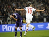 Paris Saint-Germain's Swedish forward Zlatan Ibrahimovic celebrates after scoring his team's third goal during the UEFA Champions League group C football match against Anderlecht on October 23, 2013
