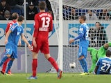The ball ends up in the net despite going wide of the post during the Bundesliga match between Hoffenheim and Bayer Leverkusen on October 18, 2013