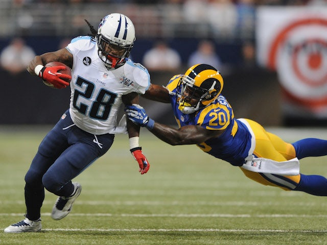 Chris Johnson of the Tennessee Titans runs against the St. Louis Rams in the second quarter at the Edward Jones Dome on November 3, 2013