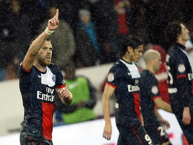 PSG's Jeremy Menez celebrates after scoring his team's second goal against Lorient on November 1, 2013
