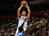 Michael Carter Williams of the Philadelphia 76ers in action during the NBA pre season match between Oklahoma City Thunder and Philadelphia 76ers at Phones 4 U Arena on October 8, 2013