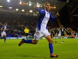 Peter Lovenkrands of Birmingham City celebrates scoring their third goal during the Capital One Cup Fourth Round match between against Stoke City on October 29, 2013