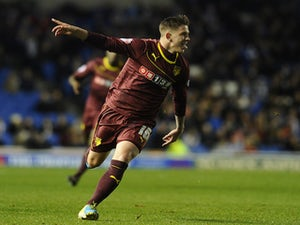 Sean Murray celebrates his goal for Watford during the Sky Bet Championship match between Brighton & Hove Albion and Watford at The Amex Stadium on October 28, 2013