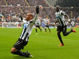 Newcastle's Yoan Gouffran celebrates moments after scoring the opening goal against Chelsea on November 2, 2013