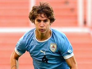 Manchester United full-back Guillermo Varela in action for Uruguay Under-20s in January 2013.