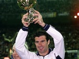 Luis Figo of Real Madrid with the European Footballer of the Year award before the Primera Liga match between Real Madrid and Oviedo on January 14, 2001