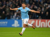 Sergio Aguero of Manchester City celebrates scoring the second goal during the UEFA Champions League Group D match between Manchester City and CSKA Moscow at the Etihad Stadium on November 5, 2013