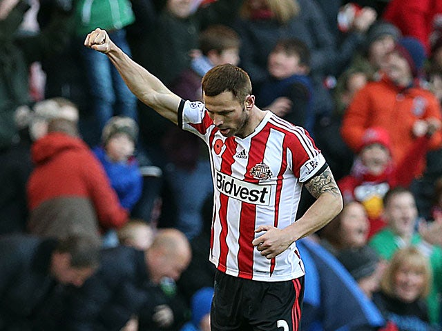 Sunderland's Phil Bardsley celebrates moments after scoring the opening goal against Manchester City on November 10, 2013