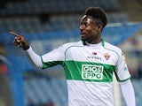 Richmond Boakye of Elche FC celebrates after scoring his team's opening goal during the La Liga match against Getafe CF on Novermber 9, 2013