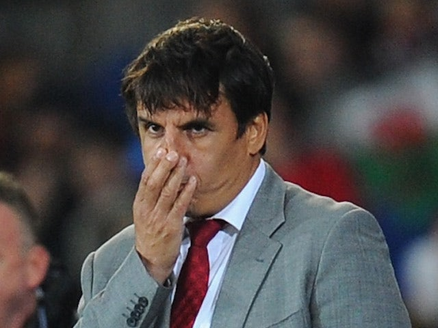Wales manager Chris Coleman looks on during the FIFA 2014 World Cup Qualifier Group D match between Wales and Macedonia at Cardiff City Stadium on October 11, 2013