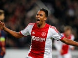 Danny Hoesen of Ajax celebrates scoring the second goal of the game during the UEFA Champions League Group H match against FC Barcelona on November 26, 2013
