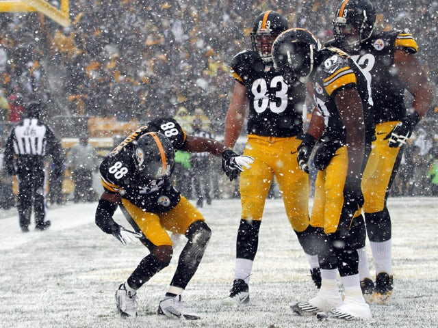 Emmanuel Sanders #88 of the Pittsburgh Steelers celebrates after scoring on a 5 yard touchdown pass in the first half against the Miami Dolphins during the game on December 8, 2013