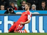 Southampton's English striker Jay Rodriguez celebrates scoring his team's first goal during the English Premier League football match against Newcastle United on December 14, 2013