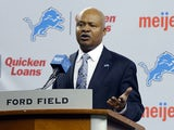 Jim Caldwell addresses the media after being introduced as the Detroit Lions head coach at Ford Field on January 15, 2014