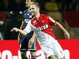 Monaco's French forward Valere Germain celebrates after scoring a goal during the French L1 football match Monaco (ASM) vs Marseille (OM) on January 26, 2014