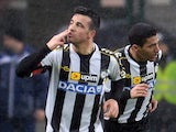 Antonio Di Natale of Udinese Calcio celebrates after scoring the opening goal during the TIM Cup match against ACF Fiorentina on February 4, 2014