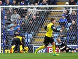 Watford's Fernando Forestieri scores the opening goal against Leicester during their Championship match on February 8, 2014