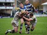 Bath's George Ford takes on the Newcastle Falcons defence during their Aviva Premiership match on February 8, 2014