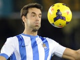Real Sociedad's midfielder Xabi Prieto during the Spanish league football match against Athletic Bilbao on January 5, 2014