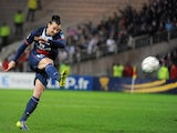 Paris' Swedish forward Zlatan Ibrahimovic scores during the French League Cup semi-final football match against Nantes on February 4, 2014