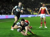 Tom Lineham of Hull FC scores a second half try during the Super League match between Hull FC and Catalans Dragons at KC Stadium on February 14, 2014