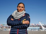 Lolo Jones of the United States ahead of the 2014 Winter Olympics in the Olympic Park on February 3, 2014