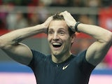 France's Renaud Lavillenie reacts after breaking Sergei Bubka's 21-year-old indoor pole vault world record on February 15, 2014