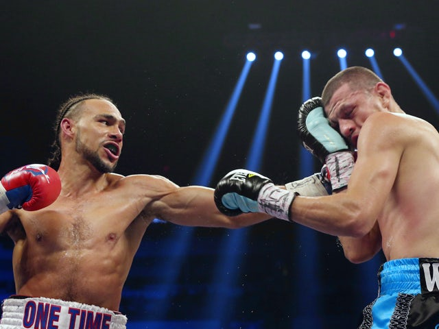 Keith Thurman and Jesus Soto Karass during their WBA Interim Welterweight title bout at Alamodome on December 14, 2013