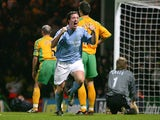 Man City's Robbie Fowler celebrates after scoring the winner against Norwich during their Premier League match on February 28, 2005
