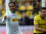 Monchengladbach's Brazilian midfielder Raffael celebrates during the German first division Bundesliga football match Borussia Dortmund vs Borussia Monchengladbach in the German city of Dortmund on March 15, 2014